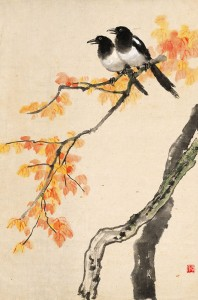 red autumn leaves and magpies