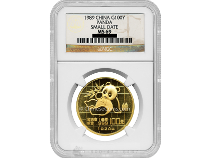 1989 1 oz Gold Panda 100 Yuan Coin small date NGC MS69