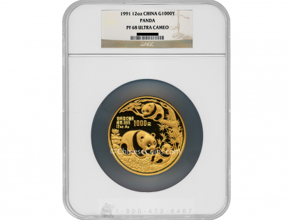 1991 12 oz Gold Panda 1000 Yuan Proof Coin NGC PF68 UC