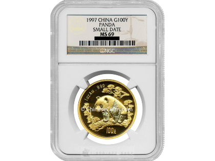 1997 1 oz Gold Panda 100 Yuan Coin small date NGC MS69