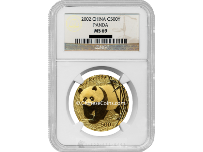 2002 1 oz Gold Panda 500 Yuan Coin NGC MS69