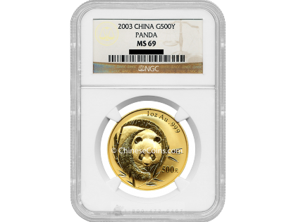 2003 1 oz Gold Panda 500 Yuan Coin NGC MS69