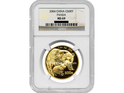 2004 1 oz Gold Panda 500 Yuan Coin NGC MS69
