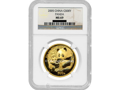 2005 1 oz Gold Panda 500 Yuan Coin NGC MS69